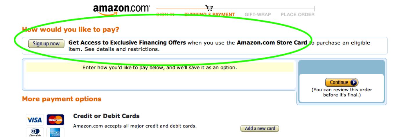 Opción de pago mediante financiación